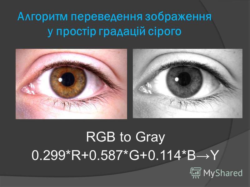 Алгоритм переведення зображення у простір градацій сірого RGB to Gray 0.299*R+0.587*G+0.114*BY
