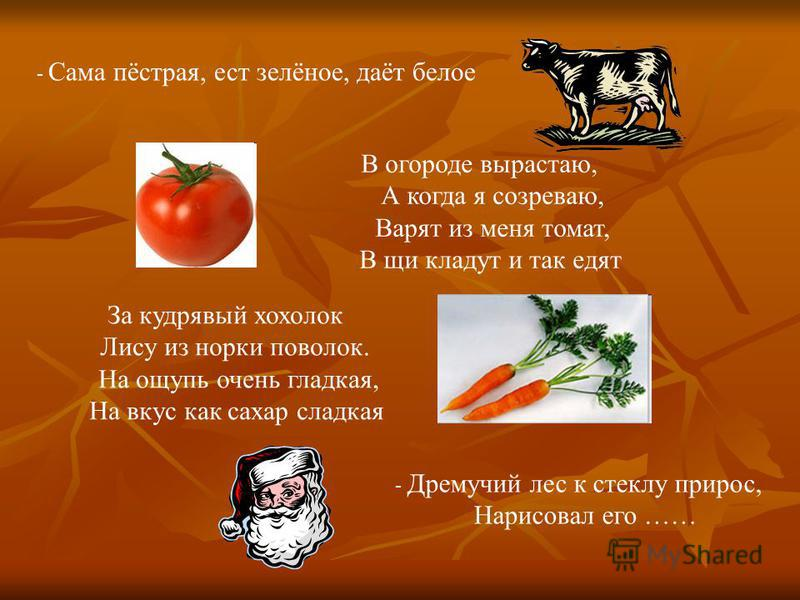 - Сама пёстрая, ест зелёное, даёт белое В огороде вырастаю, А когда я созреваю, Варят из меня томат, В щи кладут и так едят За кудрявый хохолок Лису из норки поволок. На ощупь очень гладкая, На вкус как сахар сладкая - Дремучий лес к стеклу прирос, Н
