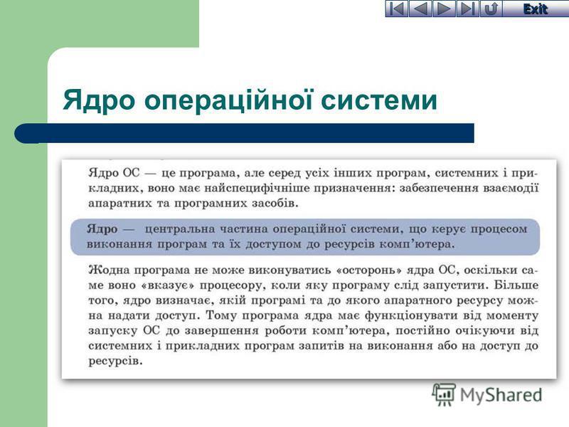 Exit Ядро операційної системи