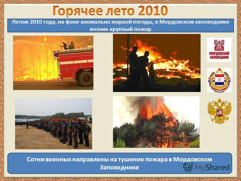 Летом 2010 года, на фоне аномально жаркой погоды, в Мордовском заповеднике возник крупный пожар Сотни военных направлены на тушение пожара в Мордовском Заповеднике