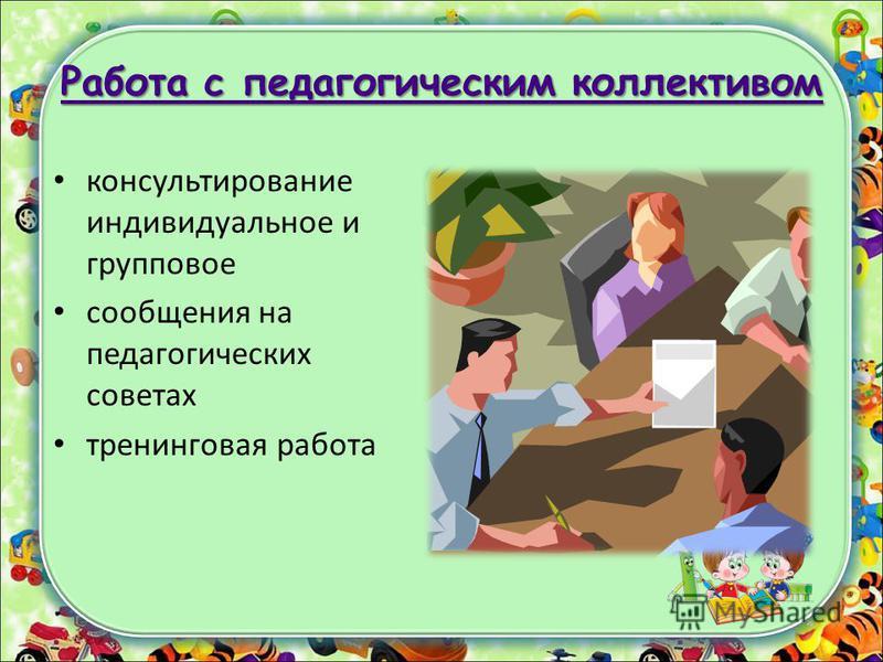 Работа с педагогическим коллективом Работа с педагогическим коллективом консультирование индивидуальное и групповое сообщения на педагогических советах тренинговая работа