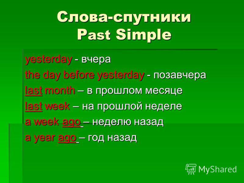 Слова-спутники P ast Simple yesterday - вчера the day before yesterday - позавчера last month – в прошлом месяце last week – на прошлой неделе a week ago – неделю назад a year ago – год назад