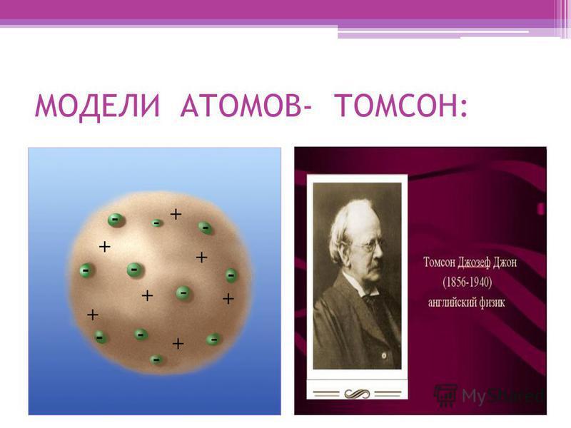 МОДЕЛИ АТОМОВ- ТОМСОН: