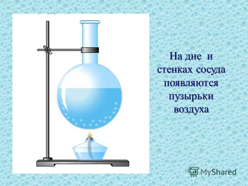 На дне и стенках сосуда появляются пузырьки воздуха