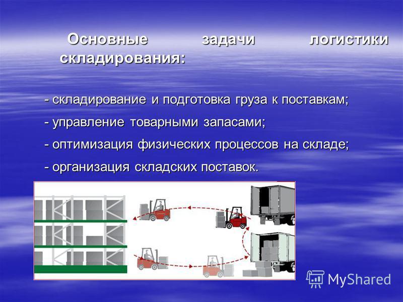 Основные задачи логистики складирования: Основные задачи логистики складирования: - складирование и подготовка груза к поставкам; - управление товарными запасами; - оптимизация физических процессов на складе; - организация складских поставок.