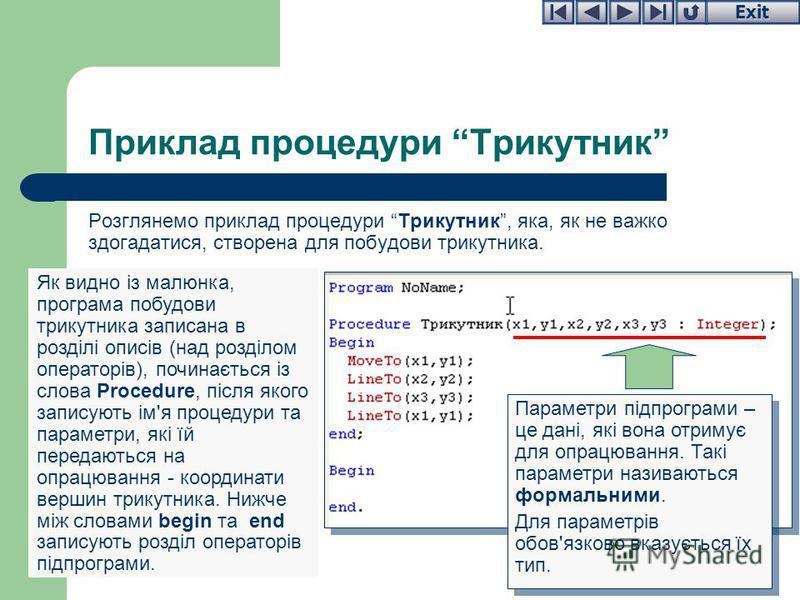 Exit Приклад процедури Трикутник Розглянемо приклад процедури Трикутник, яка, як не важко здогадатися, створена для побудови трикутника. Як видно із малюнка, програма побудови трикутника записана в розділі описів (над розділом операторів), починаєтьс