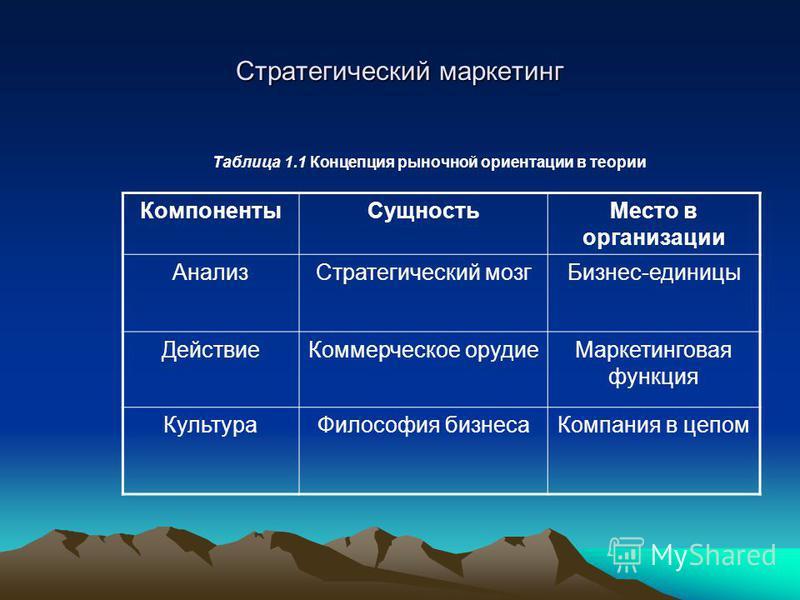 Стратегический маркетинг Таблица 1.1 Концепция рыночной ориентации в теории Компоненты СущностьМесто в организации Анализ Стратегический мозг Бизнес-единицы Действие Коммерческое орудие Маркетинговая функция Культура Философия бизнеса Компания в цепо
