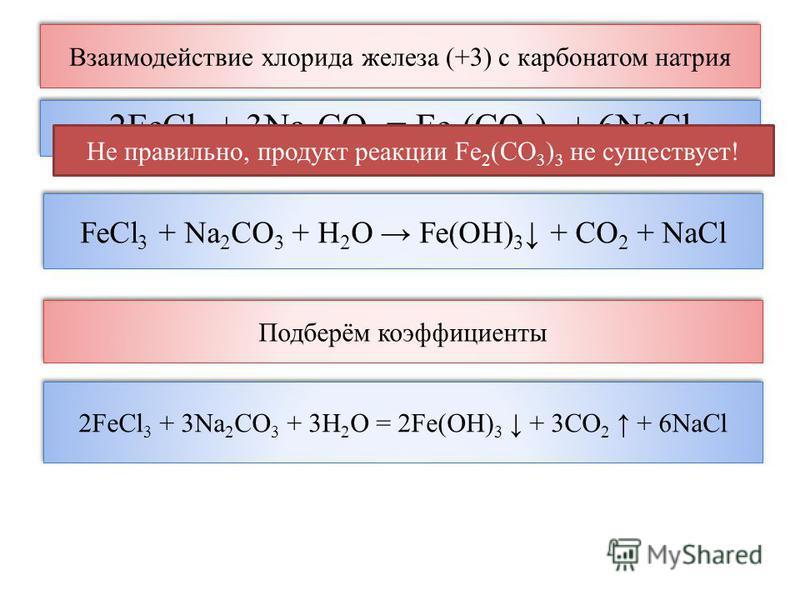 2FeCl 3 + 3Na 2 CO 3 = Fe 2 (CO 3 ) 3 + 6NaCl Не правильно, продукт реакции Fe 2 (CO 3 ) 3 не существует! FeCl 3 + Na 2 CO 3 + H 2 O Fe(OH) 3 + CO 2 + NaCl 2FeCl 3 + 3Na 2 CO 3 + 3H 2 O = 2Fe(OH) 3 + 3CO 2 + 6NaCl Подберём коэффициенты