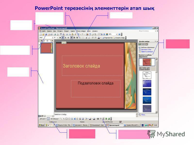 PowerPoint терезесінің элементтерін атап шық