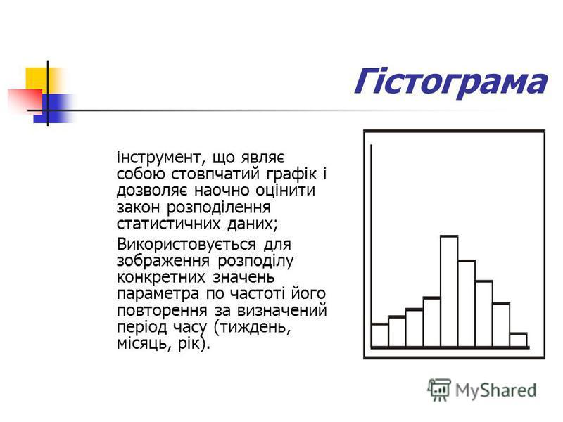 Гістограма інструмент, що являє собою стовпчатий графік і дозволяє наочно оцінити закон розподілення статистичних даних; Використовується для зображення розподілу конкретних значень параметра по частоті його повторення за визначений період часу (тижд