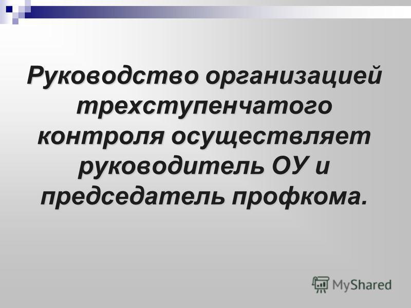 Руководство организацией трехступенчатого контроля осуществляет руководитель ОУ и председатель профкома.