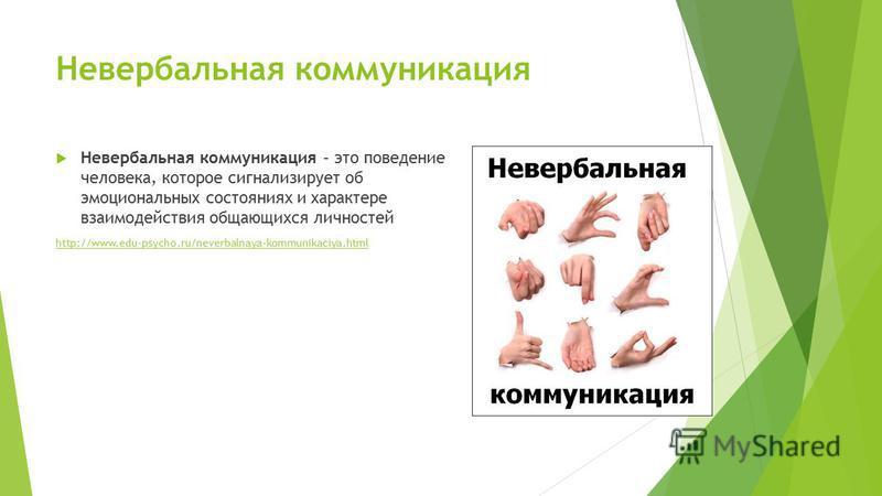 Невербальная коммуникация Невербальная коммуникация – это поведение человека, которое сигнализирует об эмоциональных состояниях и характере взаимодействия общающихся личностей http://www.edu-psycho.ru/neverbalnaya-kommunikaciya.html