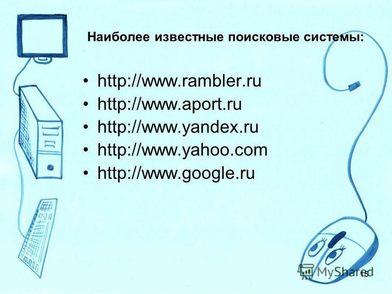 Наиболее известные поисковые системы: http://www.rambler.ru http://www.aport.ru http://www.yandex.ru http://www.yahoo.com http://www.google.ru 15
