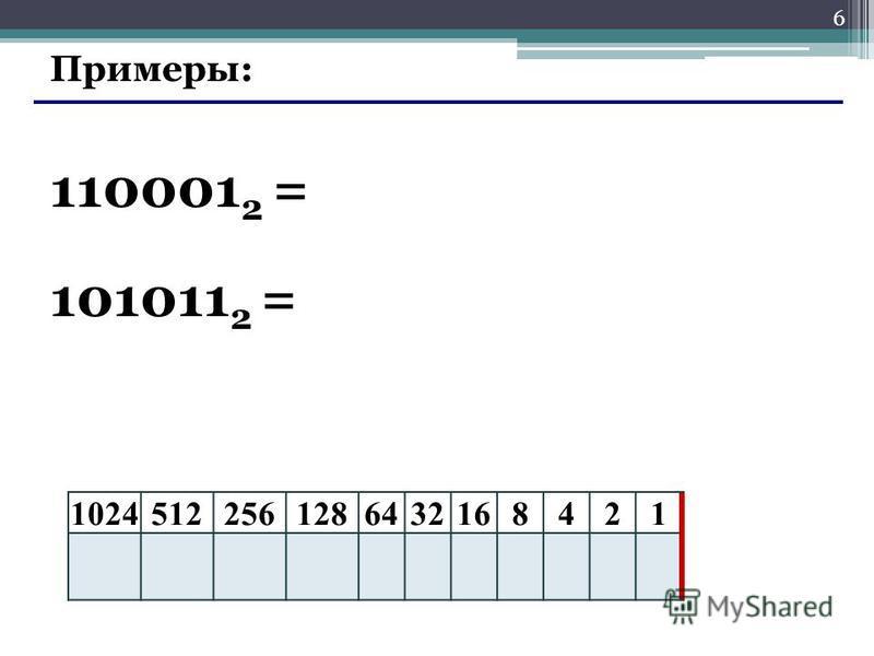 6 Примеры: 110001 2 = 10245122561286432168421 101011 2 =