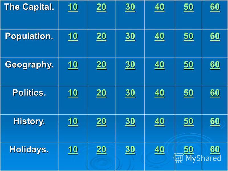 The Capital. 10 20 30 40 50 60 Population. 10 20 30 40 50 60 Geography. 10 20 30 40 50 60 Politics. 10 20 30 40 50 60 History. 10 20 30 40 50 60 Holidays. 10 20 30 40 50 60