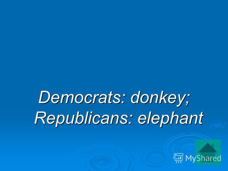 Democrats: donkey; Republicans: elephant