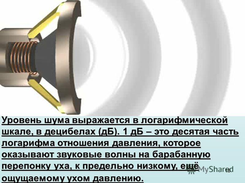 16 Уровень шума выражается в логарифмической шкале, в децибелах (дБ). 1 дБ – это десятая часть логарифма отношения давления, которое оказывают звуковые волны на барабанную перепонку уха, к предельно низкому, ещё ощущаемому ухом давлению.