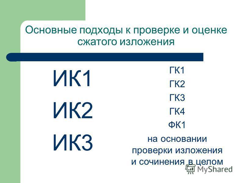 Основные подходы к проверке и оценке сжатого изложения ИК1 ИК2 ИК3 ГК1 ГК2 ГК3 ГК4 ФК1 на основании проверки изложения и сочинения в целом