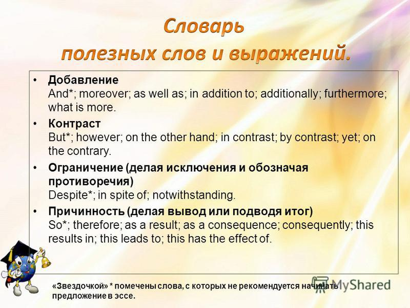 Добавление And*; moreover; as well as; in addition to; additionally; furthermore; what is more. Контраст But*; however; on the other hand; in contrast; by contrast; yet; on the contrary. Ограничение (делая исключения и обозначая противоречия) Despite