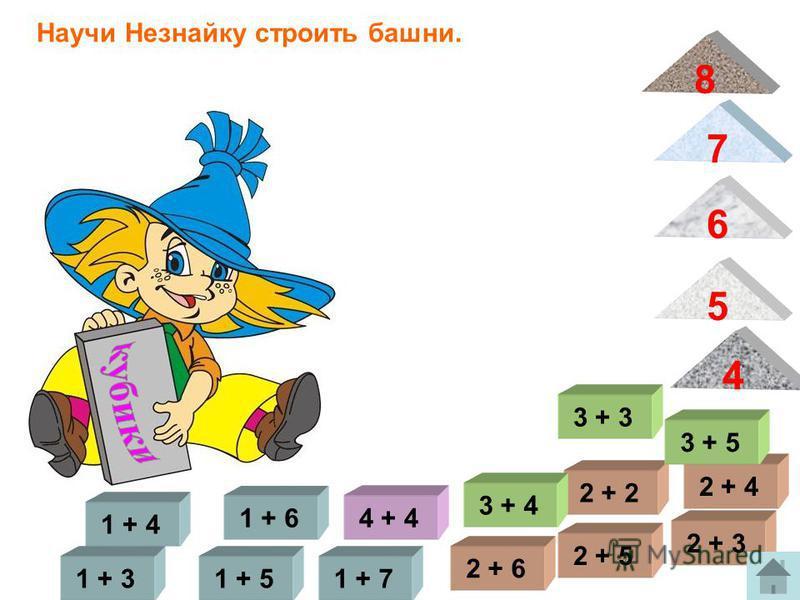 1 + 5 1 + 4 1 + 7 1 + 6 1 + 3 Научи Незнайку строить башни. 2 + 5 2 + 4 2 + 3 2 + 2 4 5 2 + 6 3 + 5 3 + 4 3 + 3 7 4 + 4 6 8