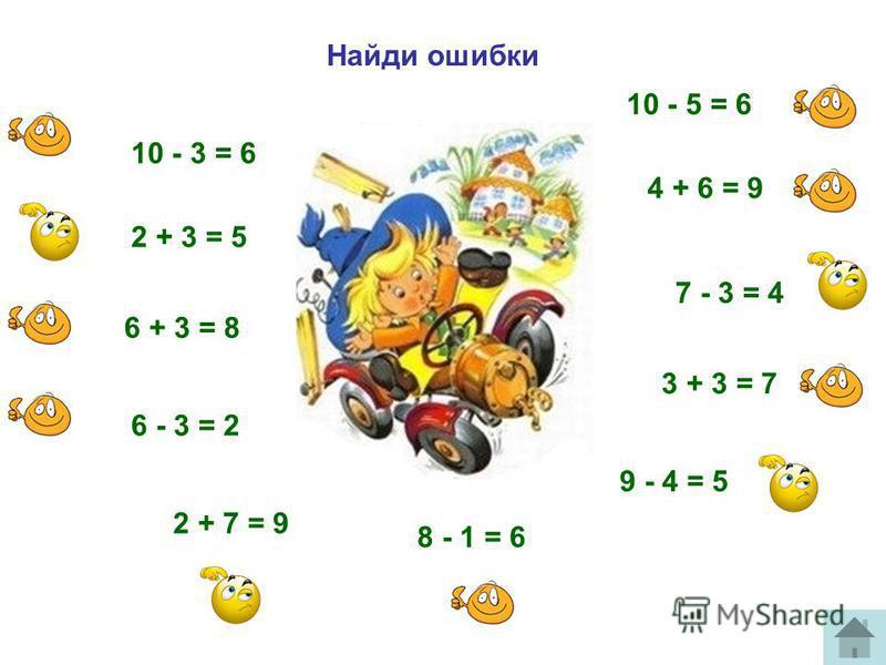 Найди ошибки 2 + 3 = 5 6 + 3 = 8 3 + 3 = 7 4 + 6 = 9 2 + 7 = 9 10 - 3 = 6 9 - 4 = 5 8 - 1 = 6 7 - 3 = 4 6 - 3 = 2 10 - 5 = 6