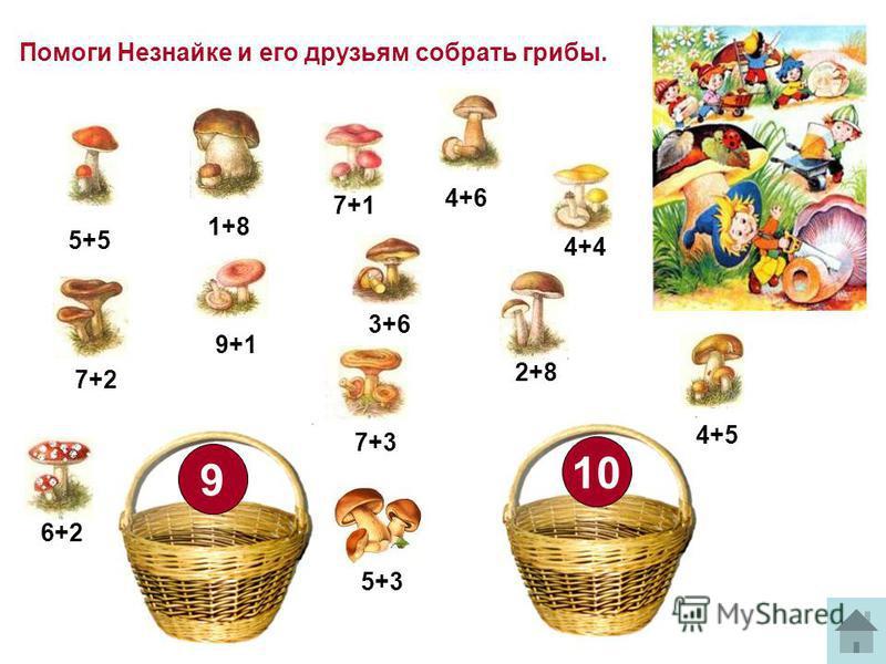 Помоги Незнайке и его друзьям собрать грибы. 10 9 5+5 4+6 7+3 2+8 9+1 1+8 7+2 3+6 4+5 4+4 5+3 6+2 7+1