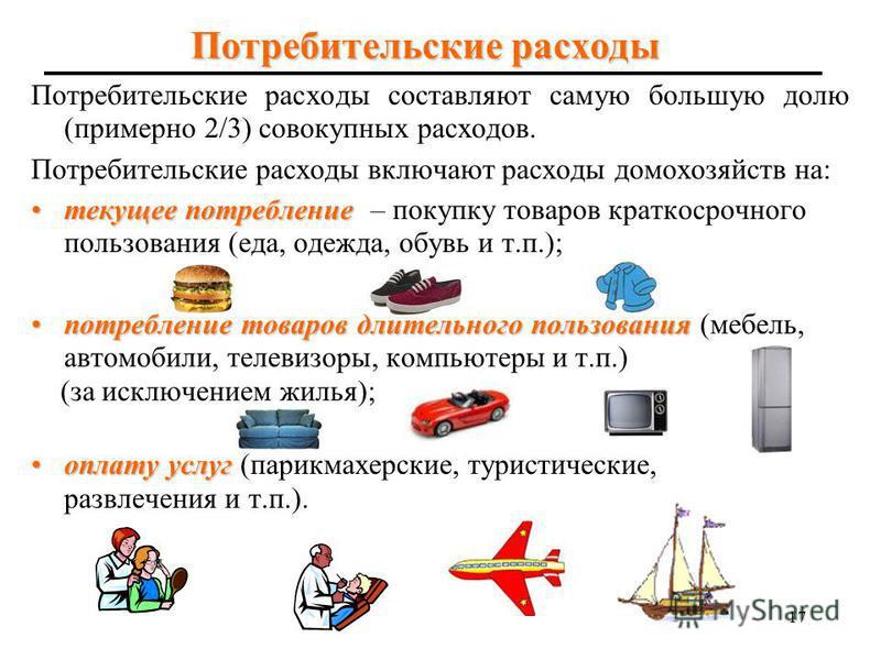 16 Структура использования ВВП в России Российский ВВП по использованию включает расходы на: конечное потребление конечное потребление, в котором выделяют: - расходы на конечное потребление домохозяйств; - расходы на конечное потребление государствен