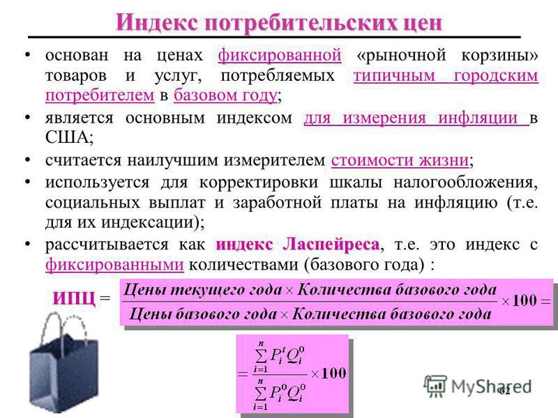 Индексы цен в России, 1996-2009 61 Источник: Госкомстат