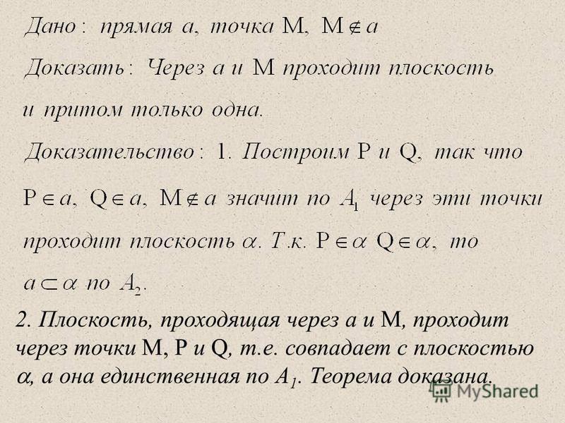 2. Плоскость, проходящая через а и М, проходит через точки М, Р и Q, т.е. совпадает с плоскостью, а она единственная по А 1. Теорема доказана.