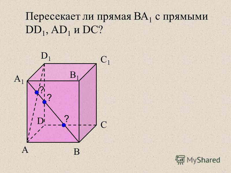 А А1А1 B D C B1B1 C1C1 D1D1 ? ? ? Пересекает ли прямая ВА 1 с прямыми DD 1, АD 1 и DC?