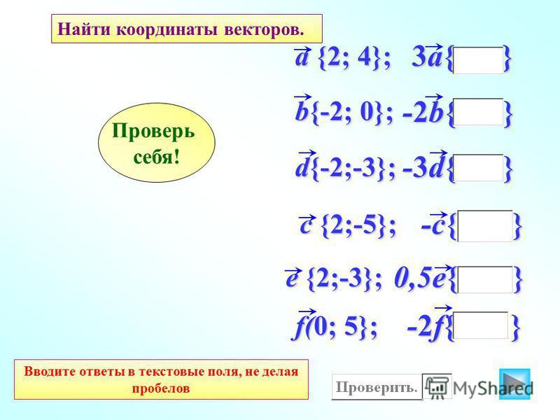 -2f{ } f(0; 5}; 0,5e{ } -c{ } -3d{ } -2b{ } 3a{ } d{-2;-3}; b{-2; 0}; a {2; 4}; Найти координаты векторов. c {2;-5}; e {2;-3}; Вводите ответы в текстовые поля, не делая пробелов Проверь себя!