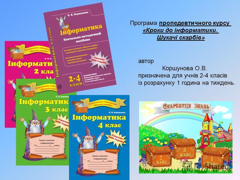 автор Коршунова О.В. призначена для учнів 2-4 класів із розрахунку 1 година на тиждень. Програма пропедевтичного курсу «Кроки до інформатики. Шукачі скарбів»