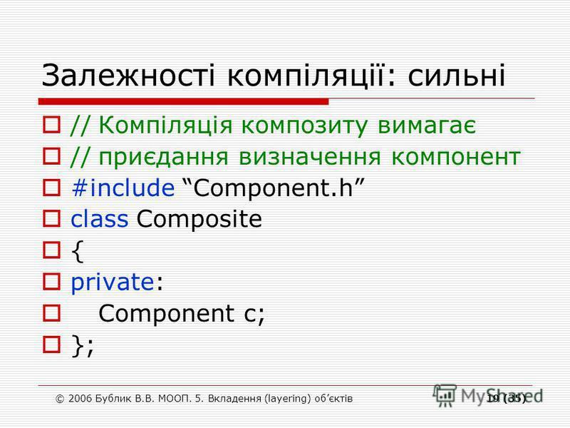 © 2006 Бублик В.В. МООП. 5. Вкладення (layering) обєктів19 (35) Залежності компіляції: сильні //Компіляція композиту вимагає //приєдання визначення компонент #include Component.h class Composite { private: Component c; };