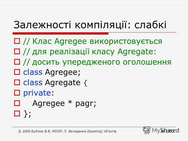 © 2006 Бублик В.В. МООП. 5. Вкладення (layering) обєктів20 (35) Залежності компіляції: слабкі //Клас Agregee використовується //для реалізації класу Agregate: //досить упередженого оголошення class Agregee; class Agregate { private: Agregee * pagr; }