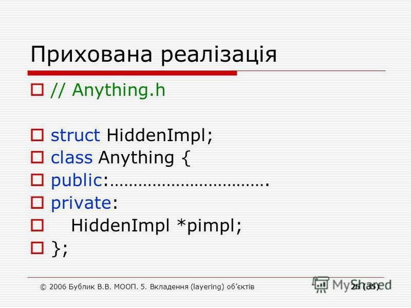 © 2006 Бублик В.В. МООП. 5. Вкладення (layering) обєктів25 (35) Прихована реалізація // Anything.h struct HiddenImpl; class Anything { public:……………………………. private: HiddenImpl *pimpl; };
