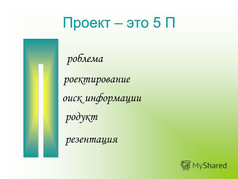 Проект – это 5 П роблема проектирование поиск информации продукт презентация