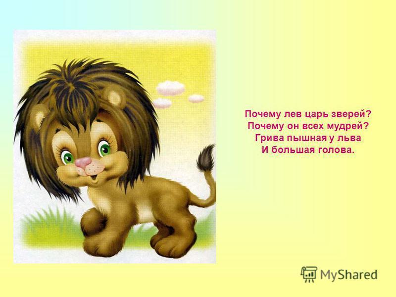 Почему лев царь зверей? Почему он всех мудрей? Грива пышная у льва И большая голова.