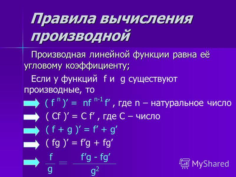 Правила вычисления производной Производная линейной функции равна её угловому коэффициенту; Производная линейной функции равна её угловому коэффициенту; Если у функций f и g существуют производные, то ( f n ) = nf n-1 f, где n – натуральное число ( С