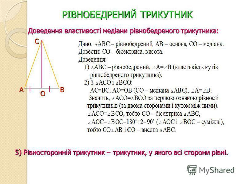 РІВНОБЕДРЕНИЙ ТРИКУТНИК Доведення властивості медіани рівнобедреного трикутника: А С В О 5) Рівносторонній трикутник – трикутник, у якого всі сторони рівні.