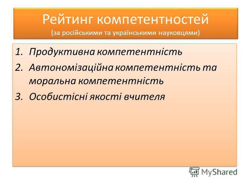 Рейтинг компетентностей (за російськими та українськими науковцями) 1.Продуктивна компетентність 2.Автономізаційна компетентність та моральна компетентність 3.Особистісні якості вчителя 1.Продуктивна компетентність 2.Автономізаційна компетентність та