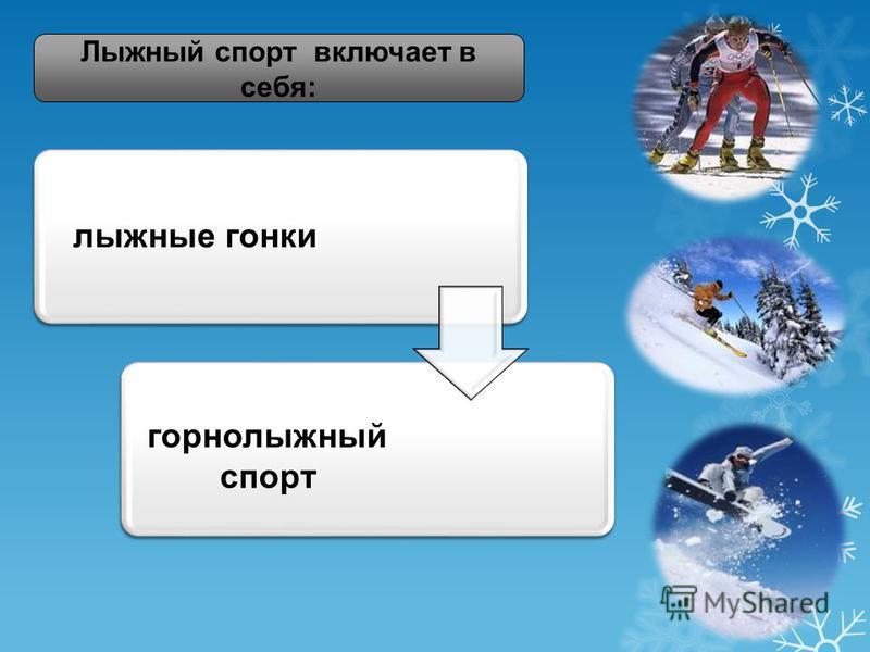 лыжные гонки горнолыжный спорт Лыжный спорт включает в себя: