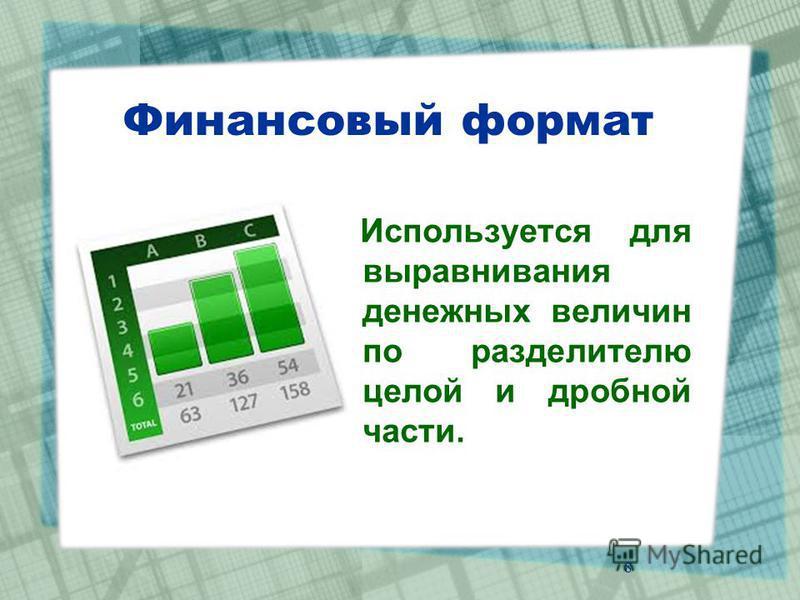 Финансовый формат Используется для выравнивания денежных величин по разделителю целой и дробной части. 8