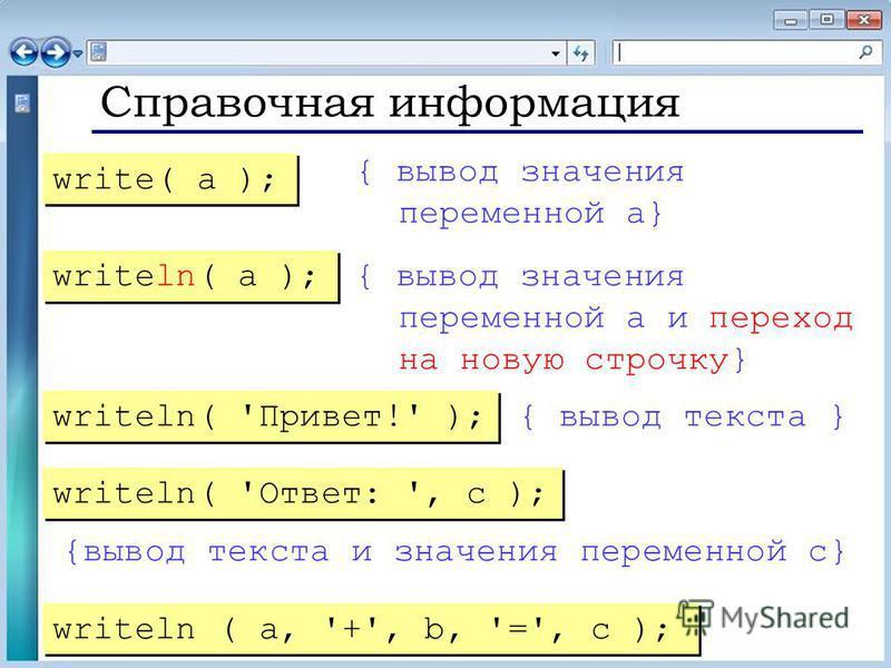 Справочная информация { вывод значения переменной a} { вывод значения переменной a и переход на новую строчку} { вывод текста } {вывод текста и значения переменной c} write( a ); writeln( a ); writeln( 'Привет!' ); writeln( 'Ответ: ', c ); writeln (