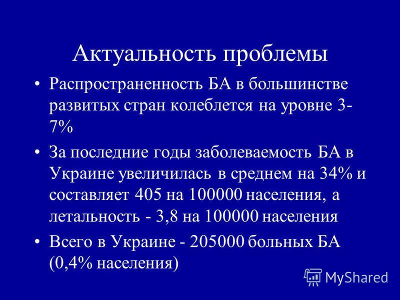 Актуальность проблемы Распространенность БА в большинстве развитых стран колеблется на уровне 3- 7% За последние годы заболеваемость БА в Украине увеличилась в среднем на 34% и составляет 405 на 100000 населения, а летальность - 3,8 на 100000 населен
