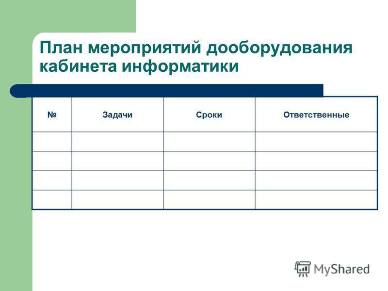 План мероприятий дооборудования кабинета информатики Задачи СрокиОтветственные