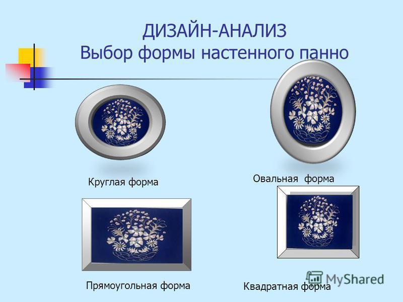 ДИЗАЙН-АНАЛИЗ Выбор формы настенного панно Круглая форма Овальная форма Прямоугольная форма Квадратная форма