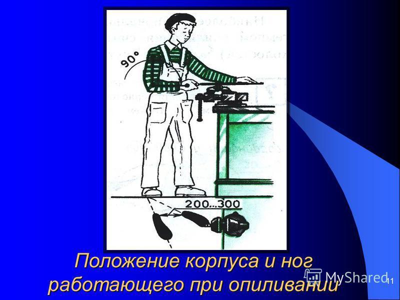 11 Положение корпуса и ног работающего при опиливании