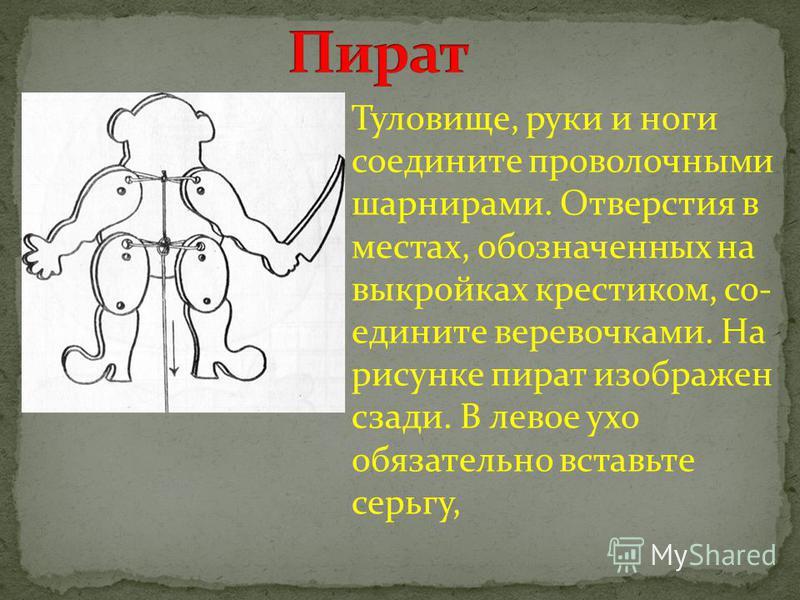 Туловище, руки и ноги соедините проволочными шарнирами. Отверстия в местах, обозначенных на выкройках крестиком, со едините веревочками. На рисунке пират изображен сзади. В левое ухо обязательно вставьте серьгу,