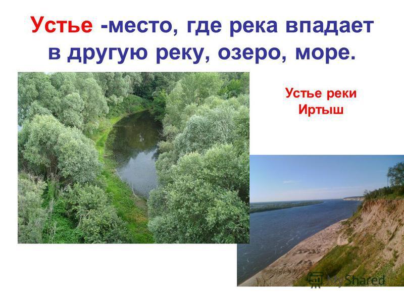 Устье -место, где река впадает в другую реку, озеро, море. Устье реки Иртыш