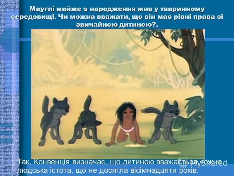 Мауглі майже з народження жив у тваринному середовищі. Чи можна вважати, що він має рівні права зі звичайною дитиною?. Так, Конвенція визначає, що дитиною вважається кожна людська істота, що не досягла вісімнадцяти років.